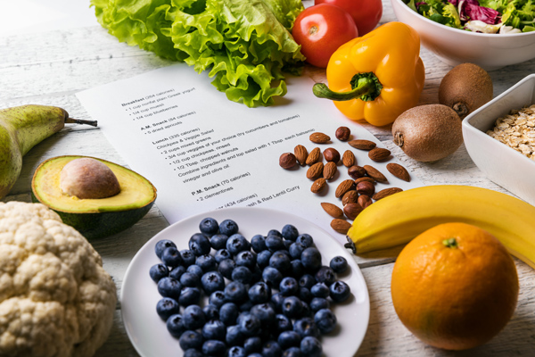 vegetable, fruits and nuts on table